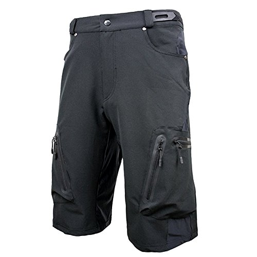 ALLY Herren Sport im Freien Kurze, Wasserdicht Freizeit Hosen, MTB-Kurzschlüsse (Schwarz, XL 34